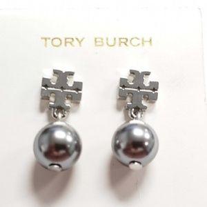 Tory Burch Earrings Silver T Logo Pearl Drop New